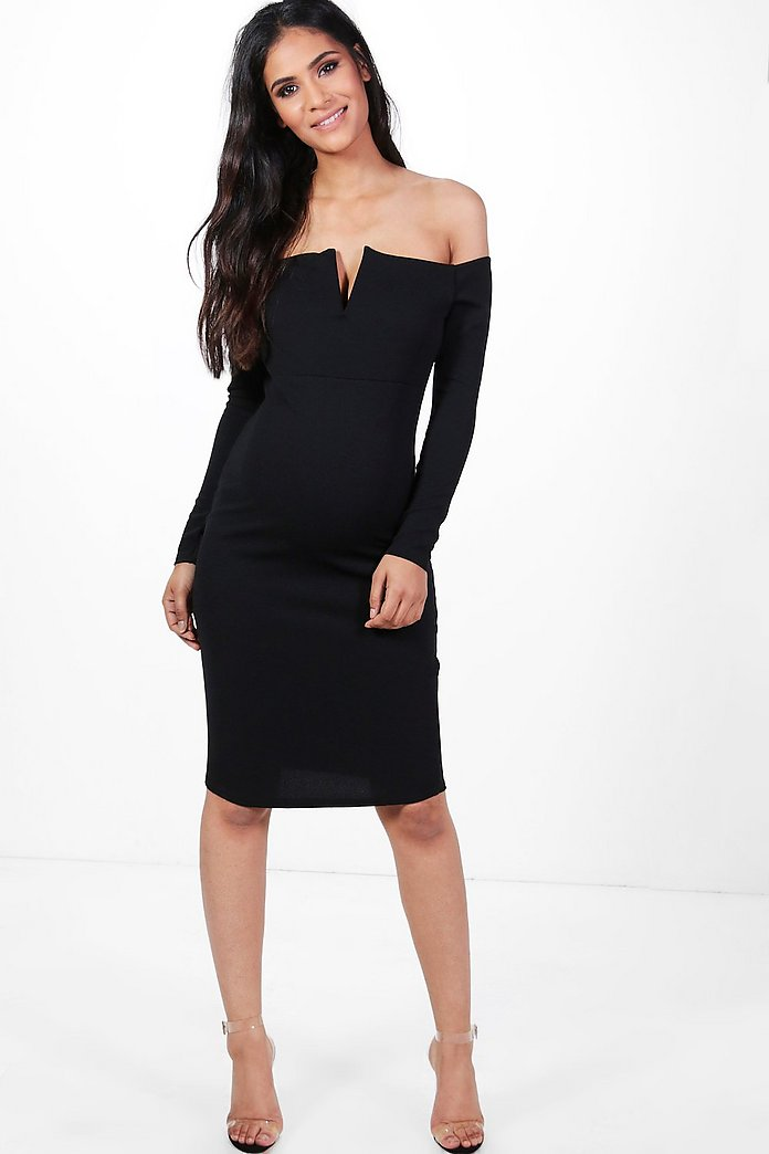Maternity Aria V Plunge Off The Shoulder Midi Dress