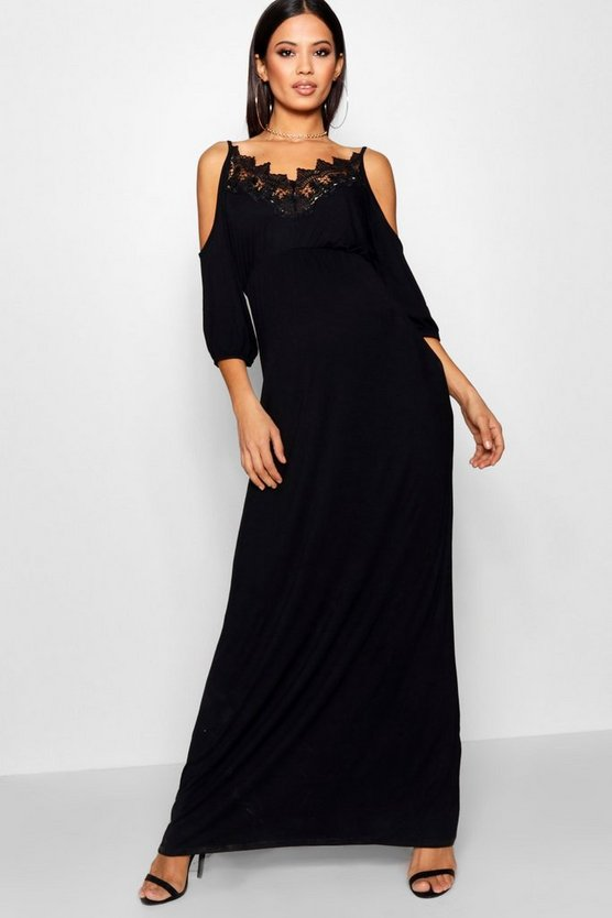 Maternity Lace Cold Shoulder Maxi Dress