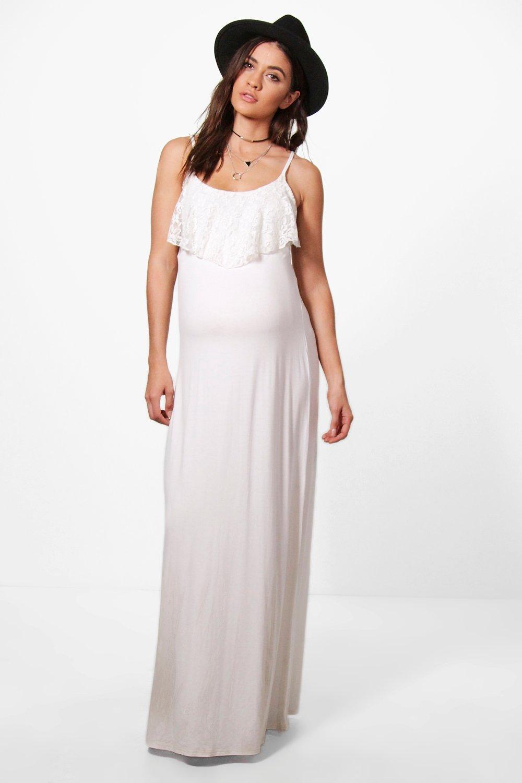 Alexia Lace Ruffle Strappy Maxi Dress - ivory