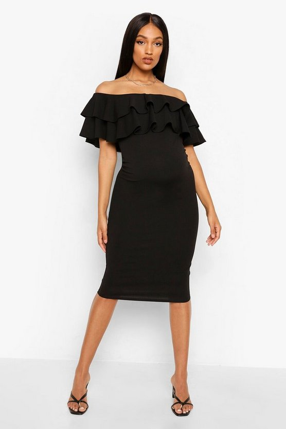 Maternity Lauren Ruffle Off The Shoulder Midi Dress