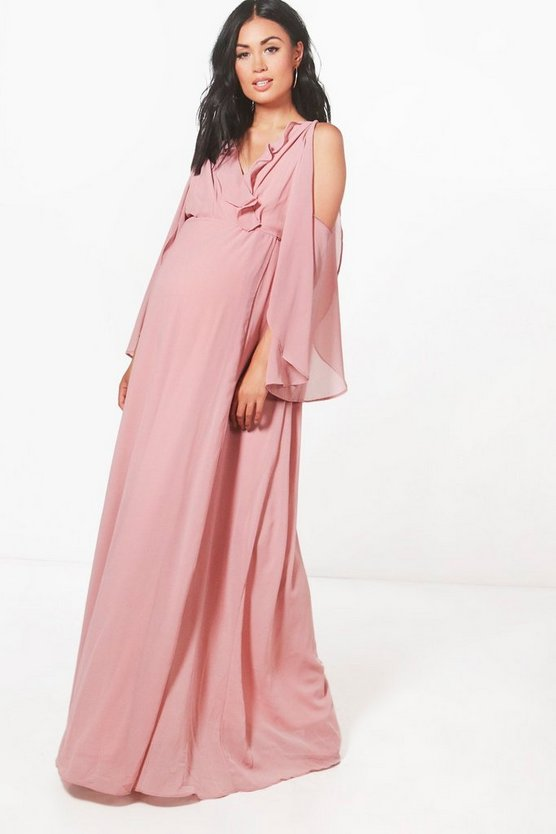 Maternity Alice Wrap Maxi Dress With Ruffle Cold Shoulder