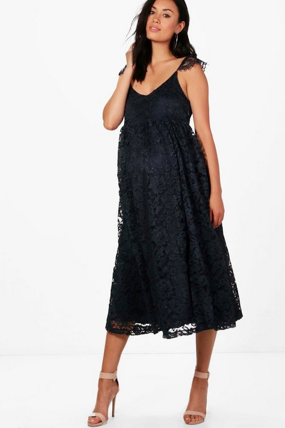 Maternity Stella Lace Midi Dress With Cap Sleeves