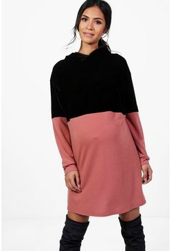 Maternity Casey Velvet Colour Block Sweat Dress