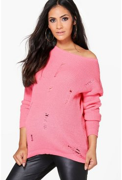 Maternity Clara Distressed Long Sleeve Jumper