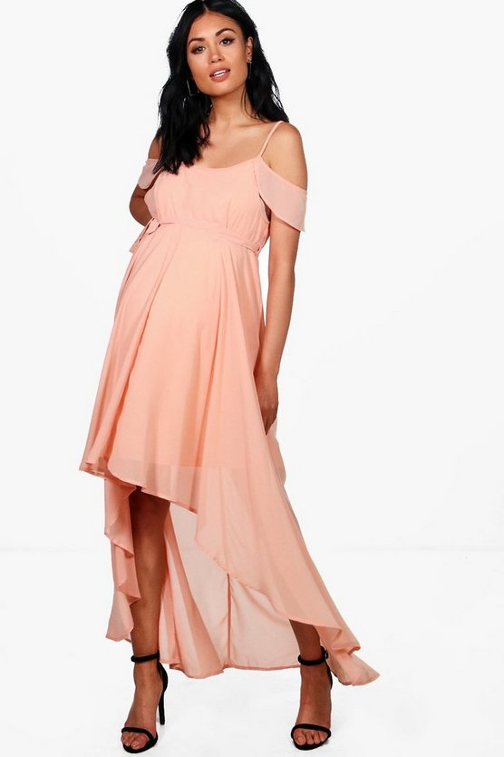 Maternity Emery Chiffon Frill Open Shoulder Dress