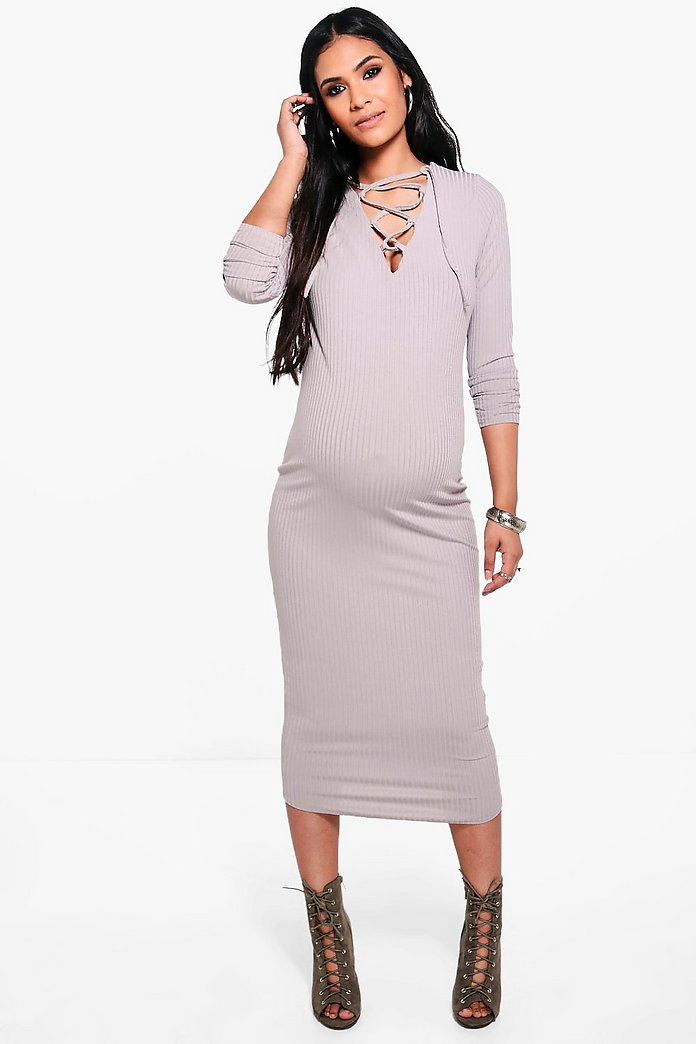 Maternity Lily Lace Up Ribbed Midi Dress