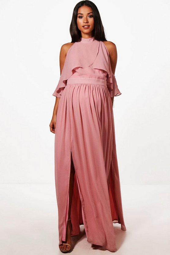 Maternity Imogen Chiffon Frill Open Shoulder Maxi Dress