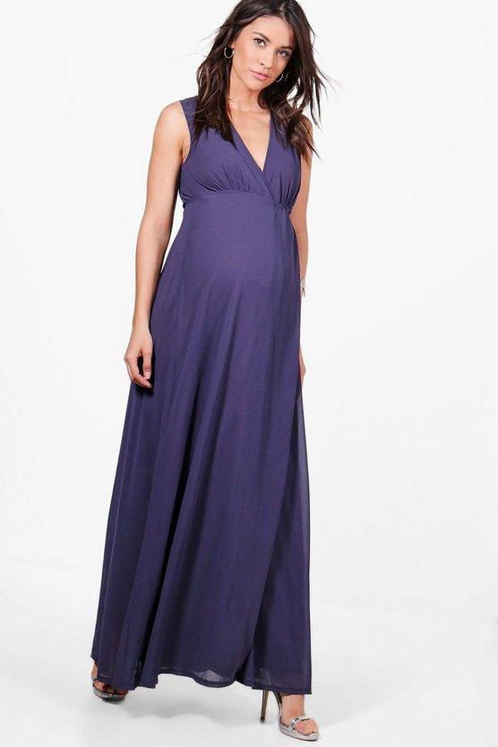 Maternity Maxi Dress With Deep V Neckline