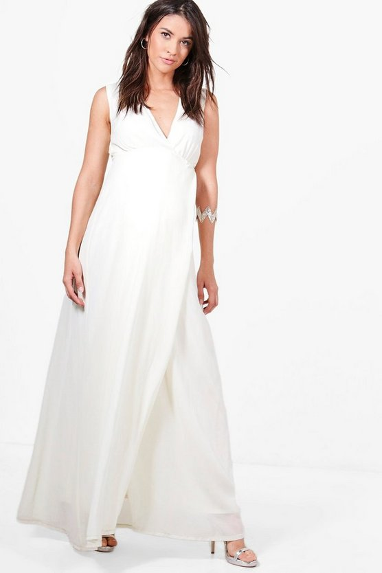 Maternity Sara Maxi Dress With Deep V Neckline