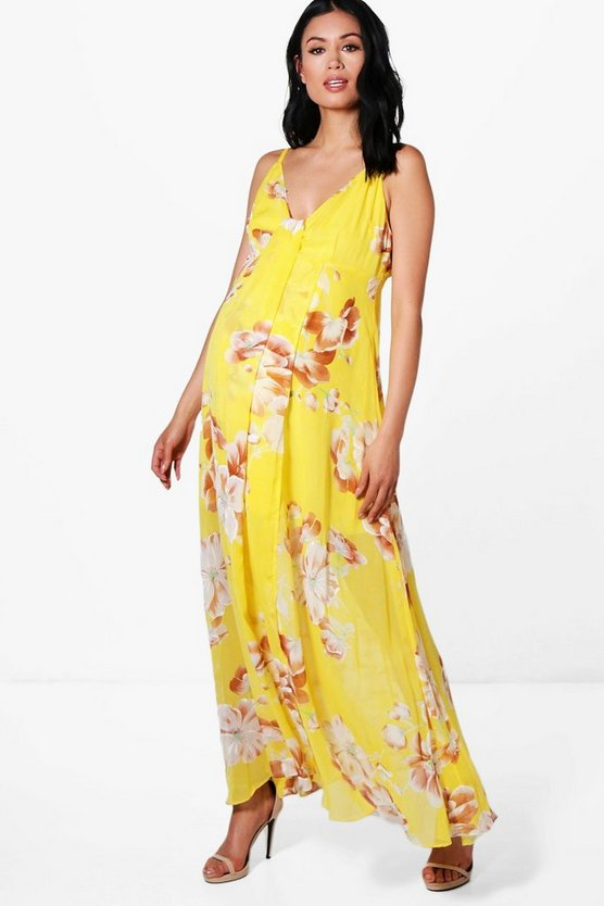 Maternity Wedding Floral Printed Maxi Dress