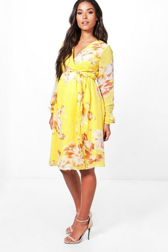 Maternity Mia Long Sleeve Wrap Dress with Deep V Neckline