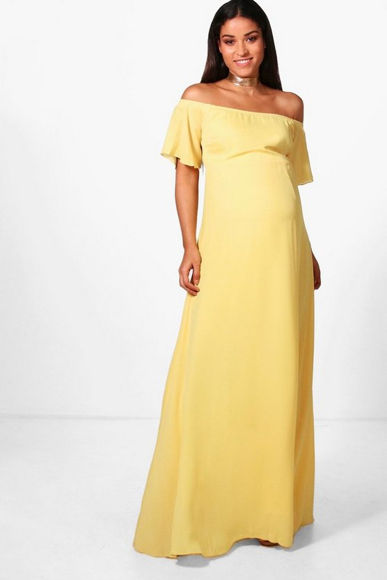 Maternity Clare Off The Shoulder Maxi Dress