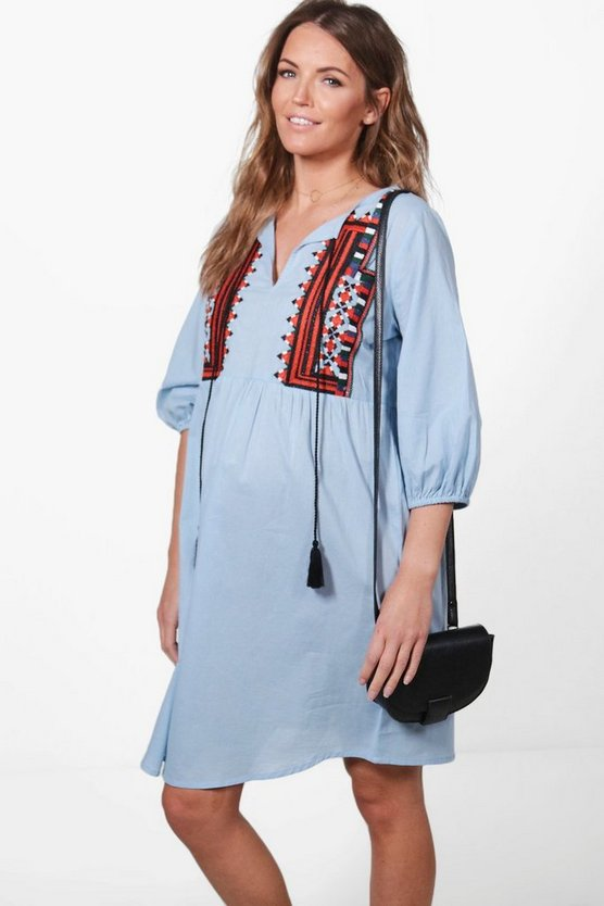 Maternity Jessica Aztec Embroidered Smock Dress