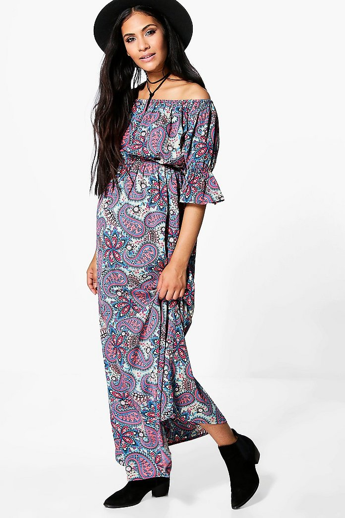 Maternity Isla Oriental Floral Off The Shoulder Maxi Dress