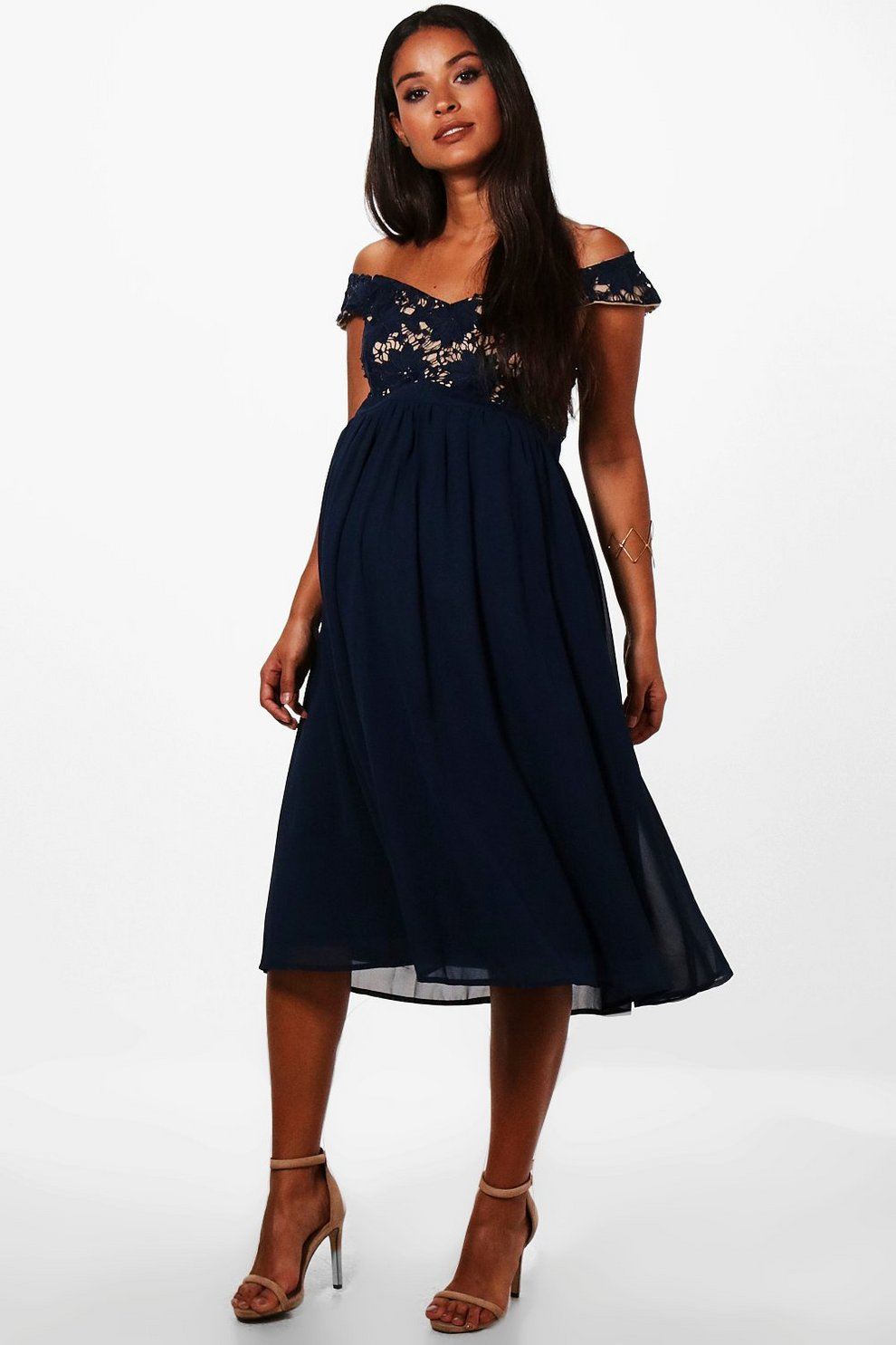 Boohoo Maternity Lace Off The Shoulder Chiffon Midi Dress