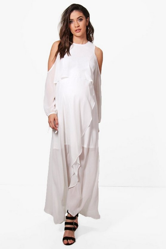 Maternity Aria Chiffon Cold Shoulder Detail Layer Maxi