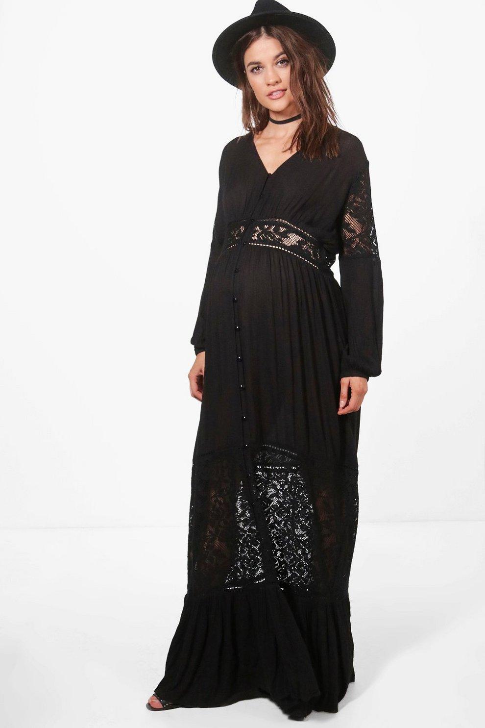 Black lace insert maxi dress