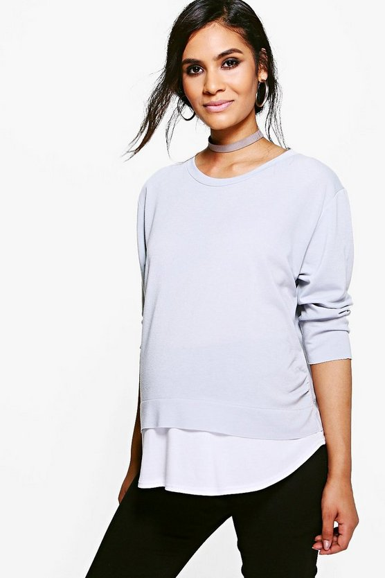 Maternity 2 in 1 Raw Edge Top