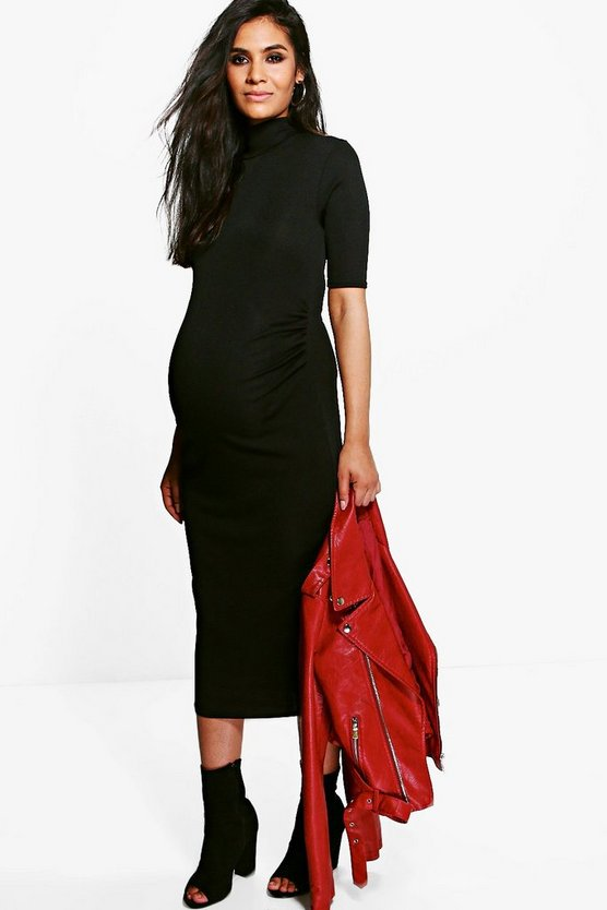 Maternity Adalyn High Neck Cap Sleeve Rib Midi Dress