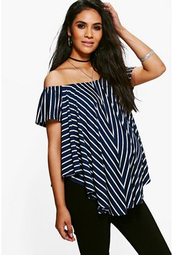 Maternity Anna Off The Shoulder Stripe Top