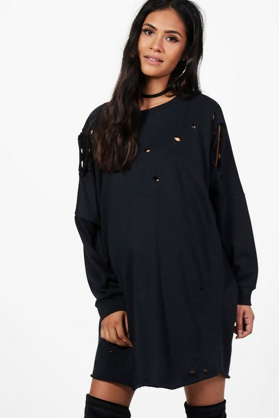 Maternity Clara Distressed Long Sleeve Sweat Dress
