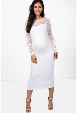 Maternity Emily Off The Shoulder Lace Midi Dress