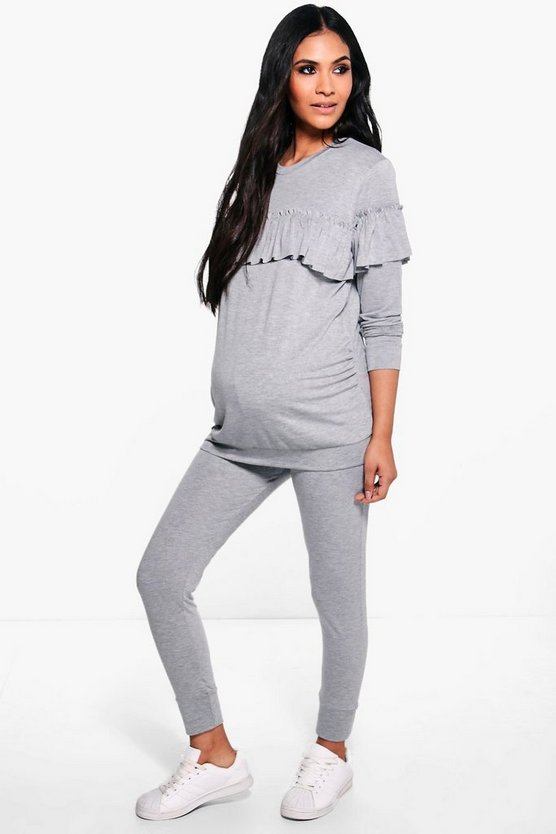 Maternity Lily Ruffle Detail Knitted Lounge Set