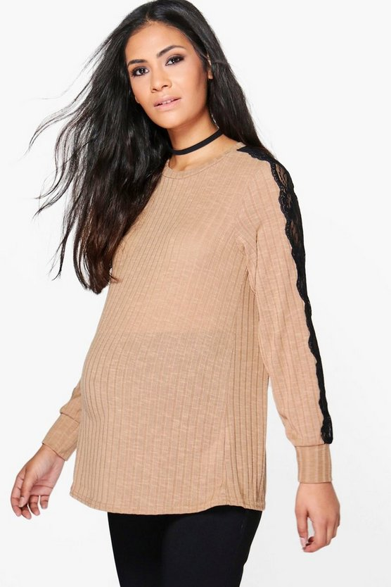 Maternity Hailey Lace Sleeve Rib Knitted Top