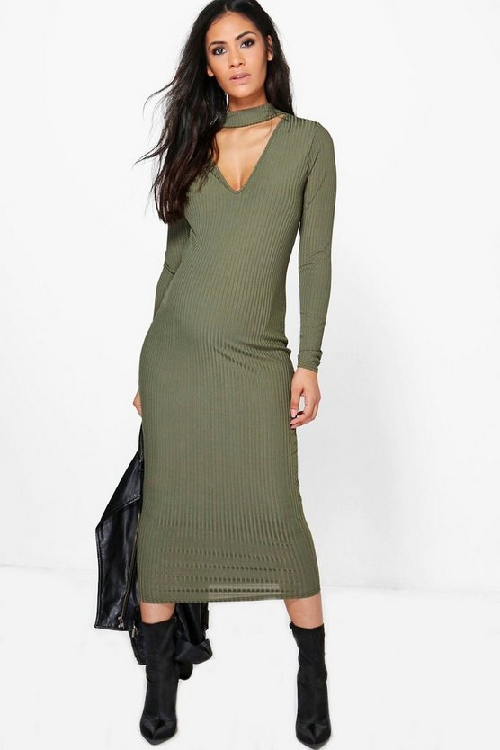 Maternity Julia Choker Ribbed Long Sleeve Midi Dress