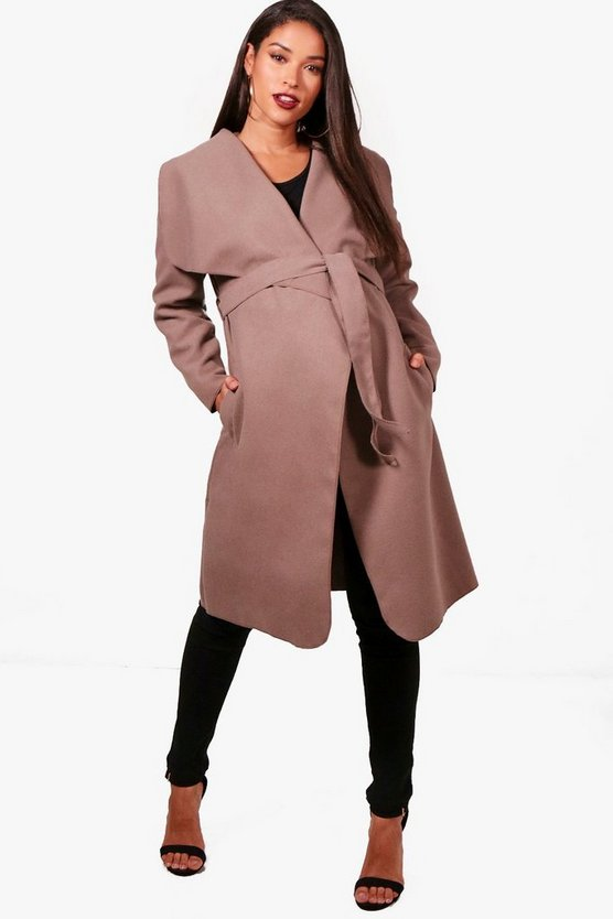 Maternity Belted Shawl Collar Coat