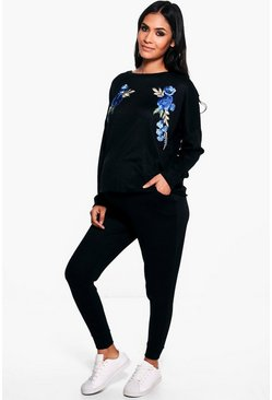 Maternity Freya Floral Applique Sweat & Jogger Set