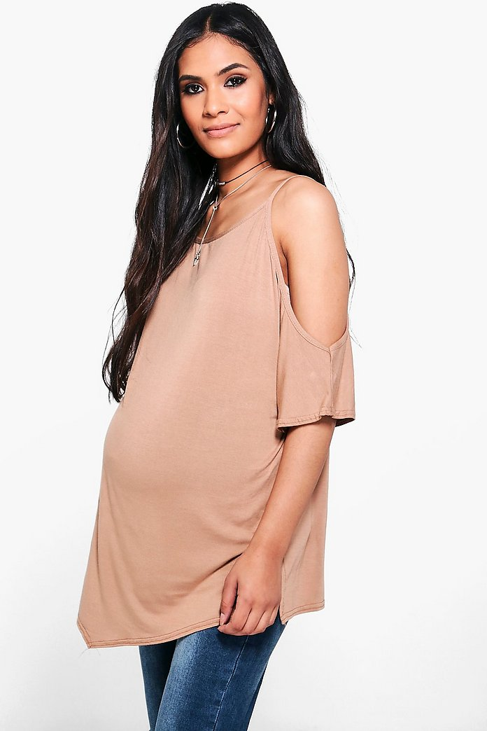 Maternity Claire Cold Shoulder Side Split Tee