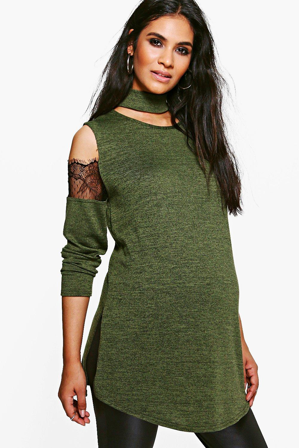 Maternity Lucy Lace Detail Cold Shoulder Jumper