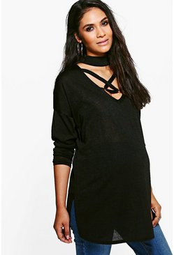 Maternity Cassey Choker Detail Strappy Jumper