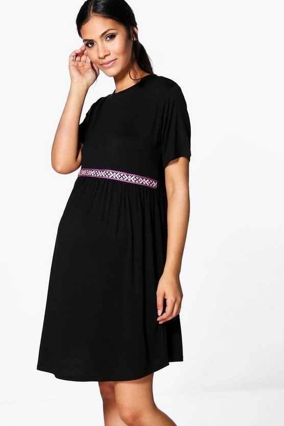 Maternity Eliza Embroidered Trim Skater Dress