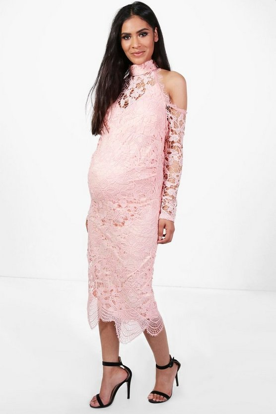 Maternity Katie Crochet Lace Open Shoulder Midi Dress