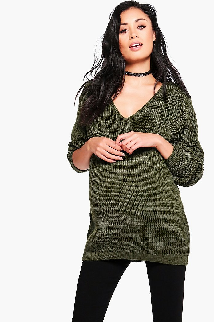 Maternity Ella Oversized V Neck Jumper