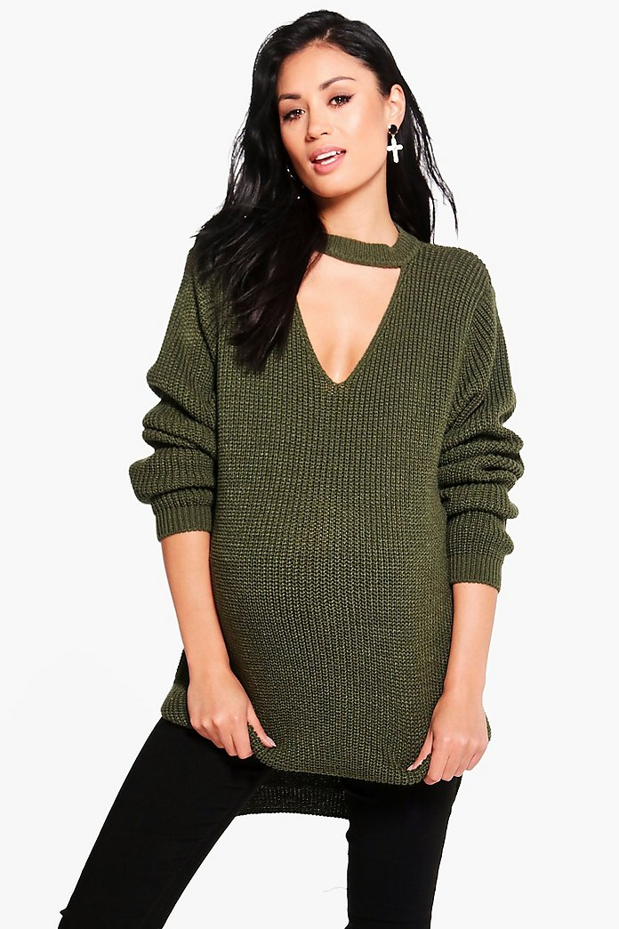 Maternity Clio Choker Knitted Jumper