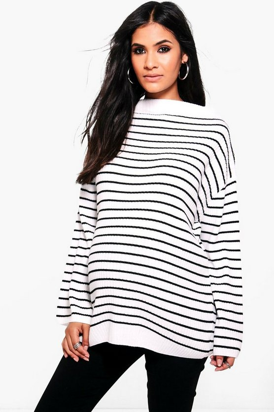 Maternity Stephanie Striped Soft Rib Jumper