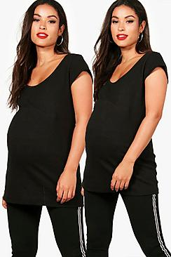 Maternity Mia 2 Pack Ribbed Over The Bump T-Shirt
