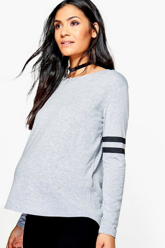 Maternity Naomi Baseball Long Sleeve Top