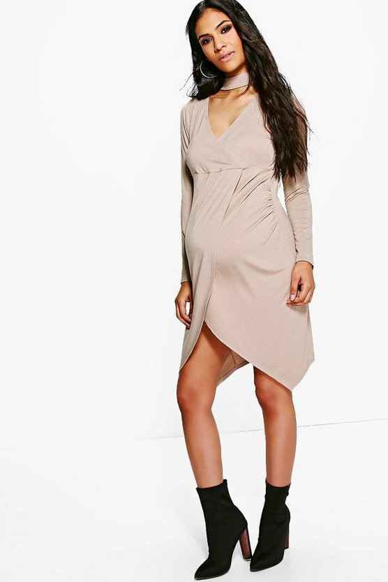 Maternity Clara Choker Wrap Front Dress