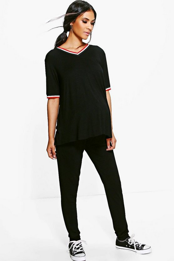 Maternity Sara Sports Rib T-Shirt & Jogger Set