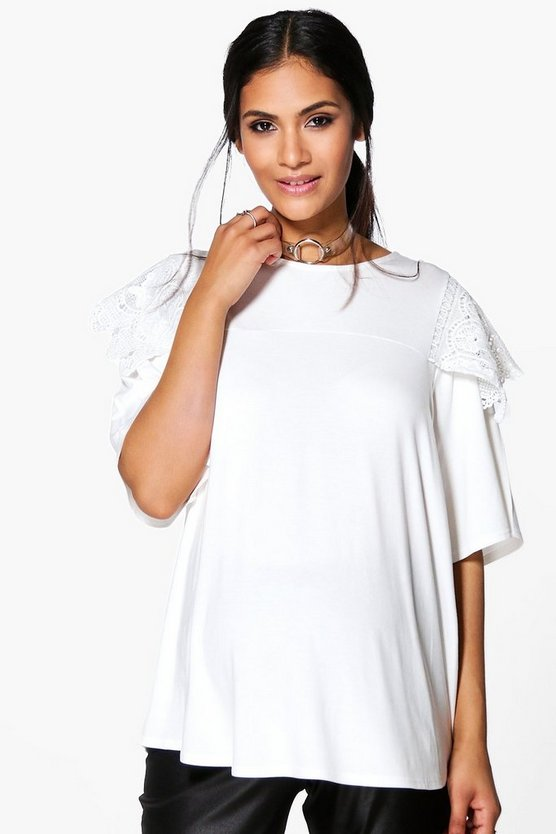 Maternity Kayla Lace Shoulder T-Shirt