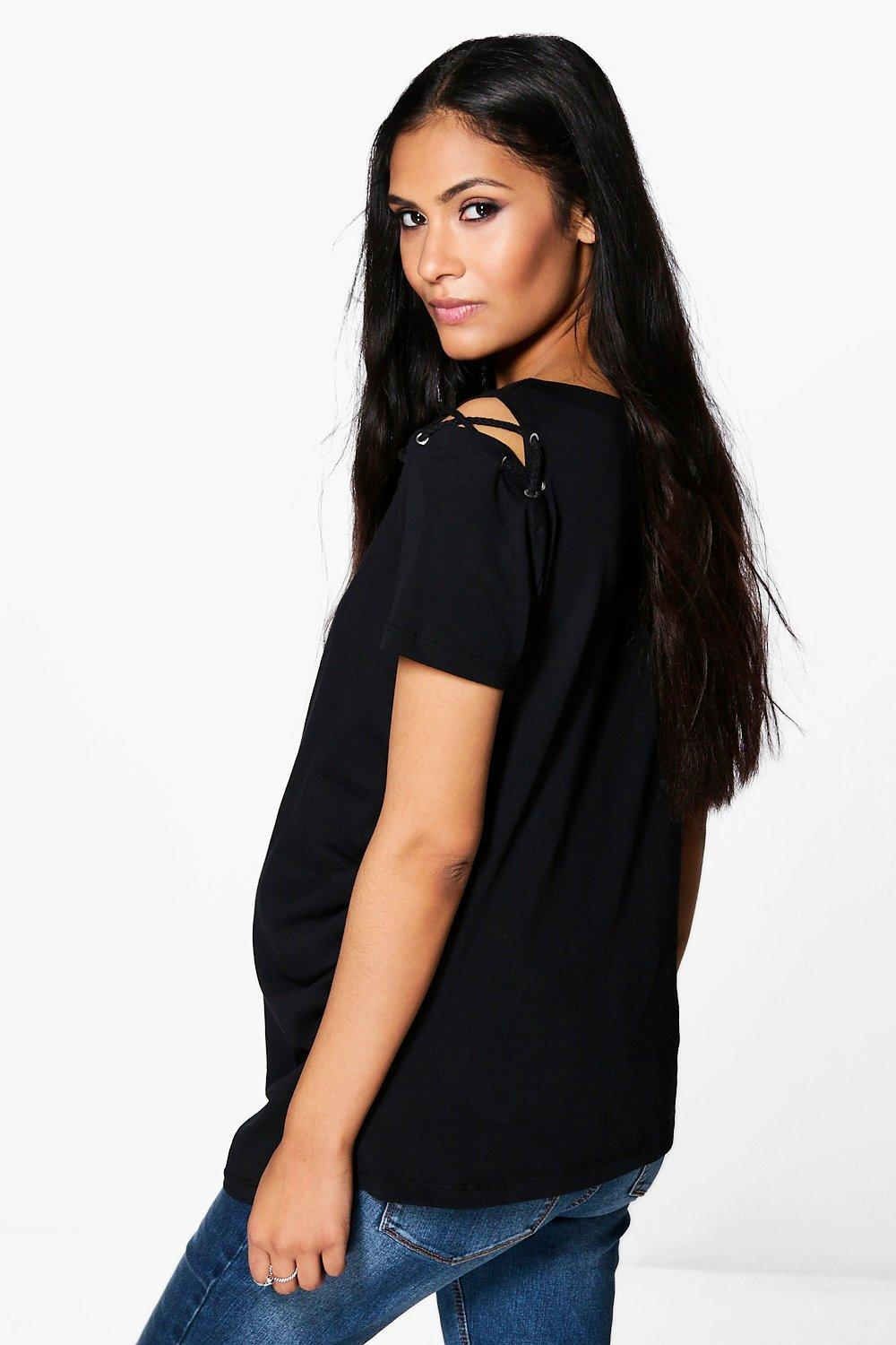 Boohoo-Maternity-Laura-Lace-Up-Neck-amp-Shoulder-Tee-per-Donna