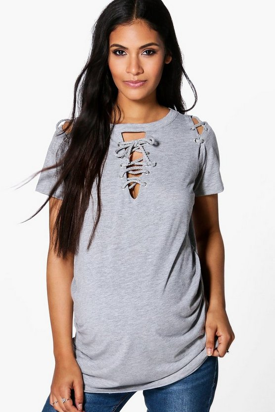 Maternity Laura Lace Up Neck & Shoulder Tee