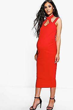 Maternity Hollie High Neck Strappy Midi Bodycon Dress