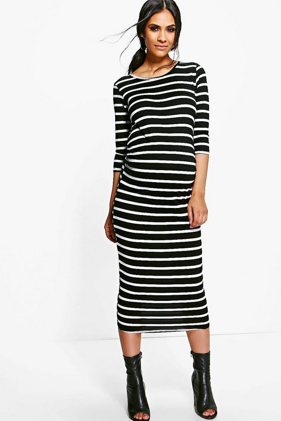 Maternity Striped Long Sleeve Midi Dress