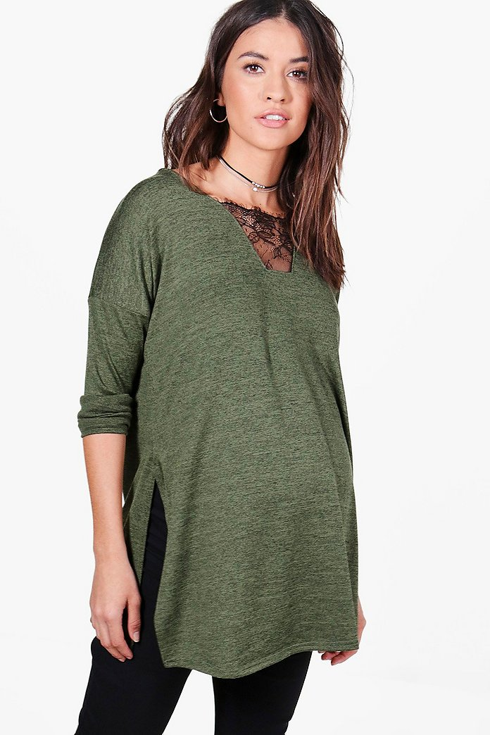 Maternity Louse Lace Premium Long Sleeve Top