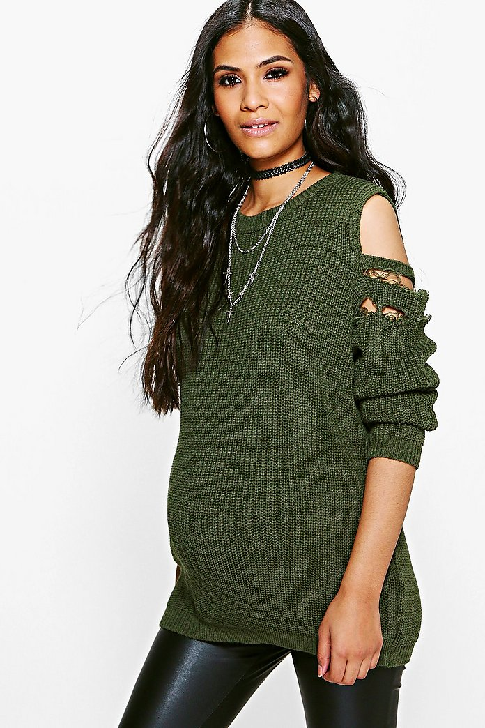 Maternity Olivia Open Shoulder Distressed Jumper